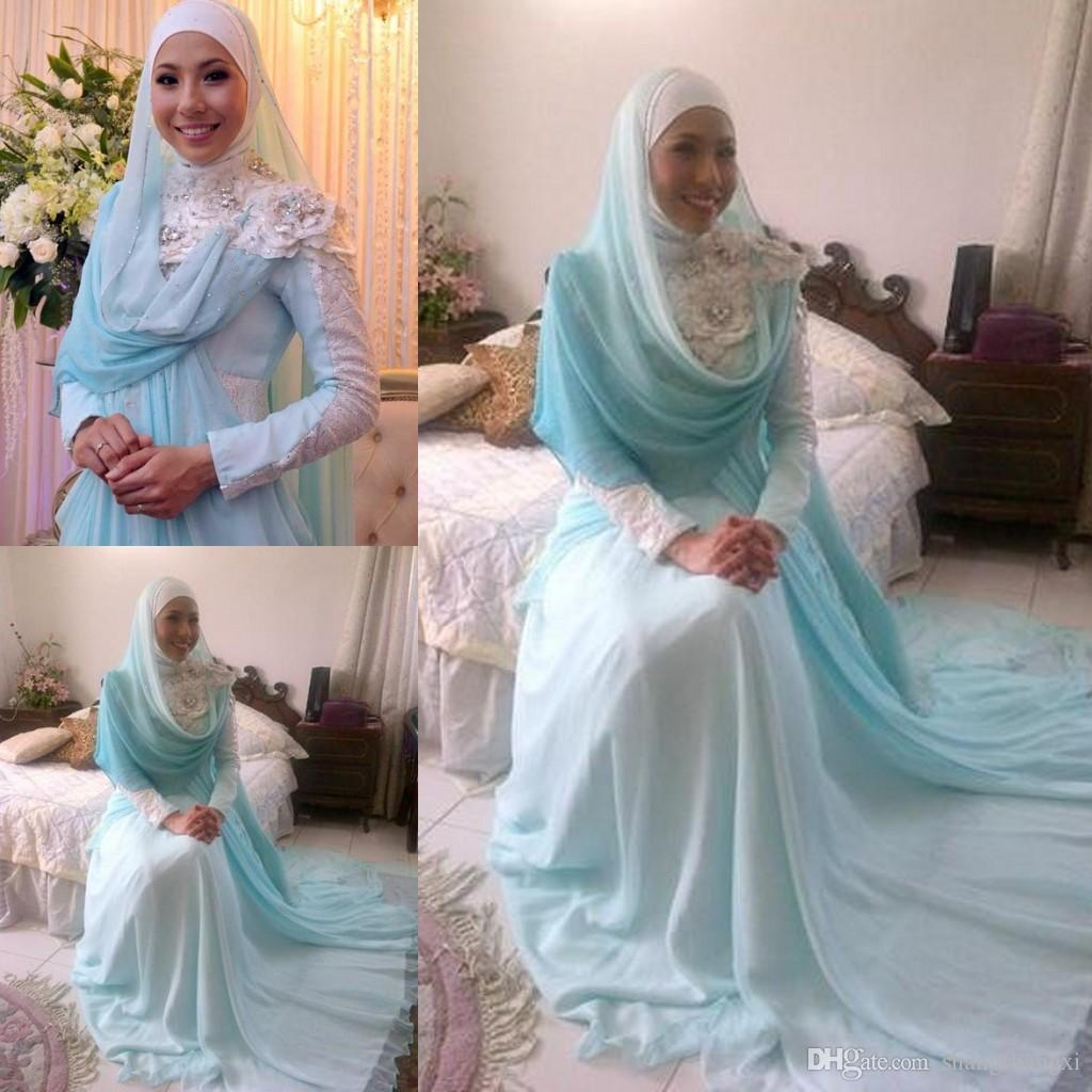 Discount Blue Muslim Wedding Dresses 2015 Vintage A Line Long ...