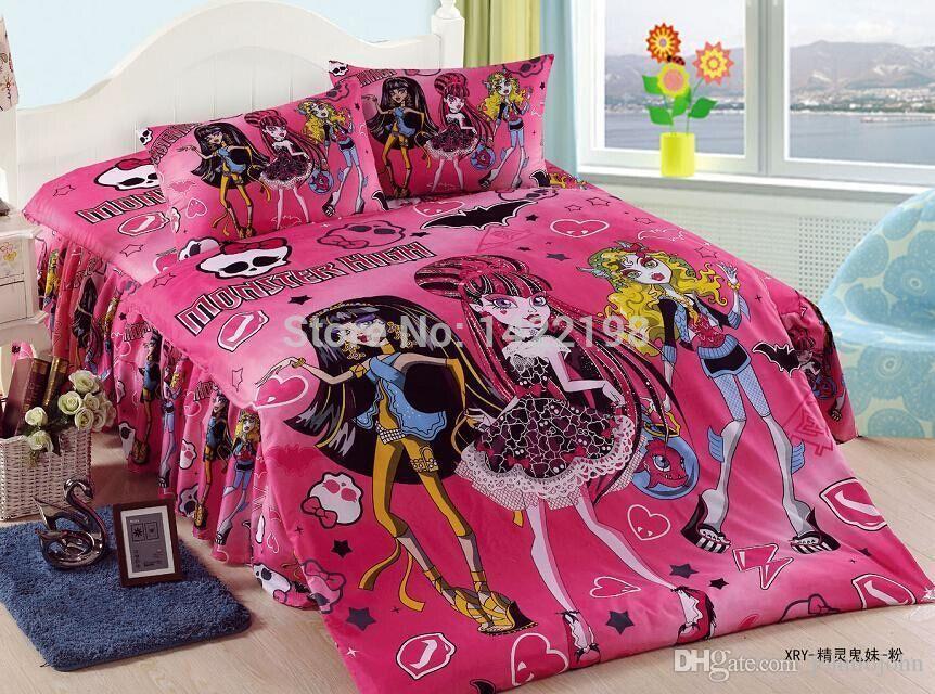 100% Cottonnew! Monster High Bedding Sets Twil/Girls Bedding/Full ...