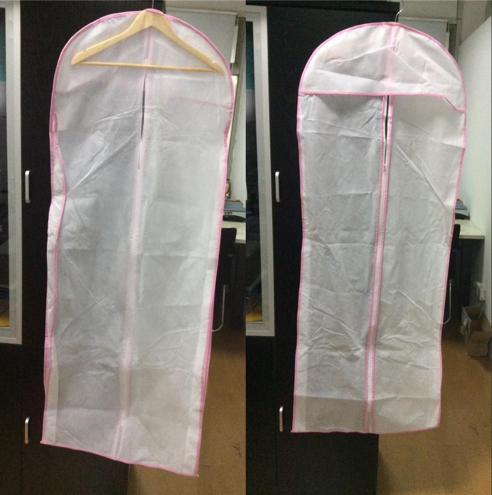 2015 pink white wedding dresses gowns dust cover bags prom for Wedding dress travel case