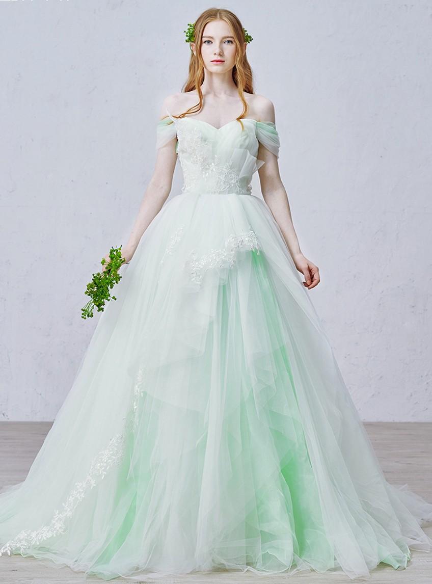 Green wedding dresses 2015 ball gown fairytale off the for Light green wedding dress