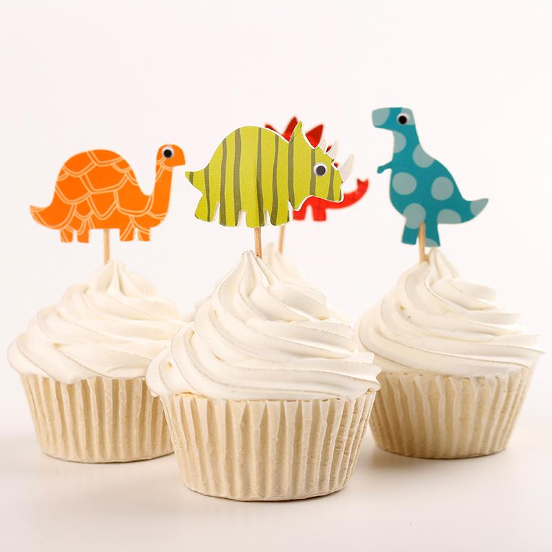 Dinosaur party supplies cartoon cupcake toppers pick kid boy birthday party decorations virtual - Deco pour cupcake ...