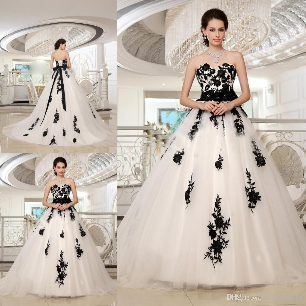 Gracefully Ball Gowns White And Black Wedding Dress Appliqued On ...