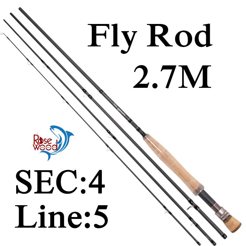 rosewood fishing pole 9' line weight #5 carbon best cheap fly, Fly Fishing Bait