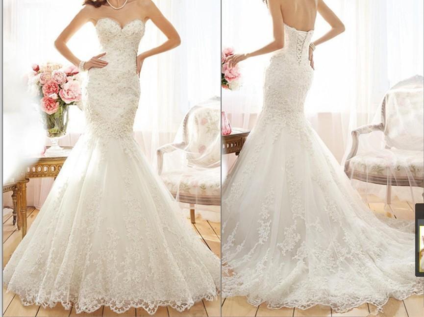 2015 Fascinating Mermaid Wedding Dresses Beaded Lace ...