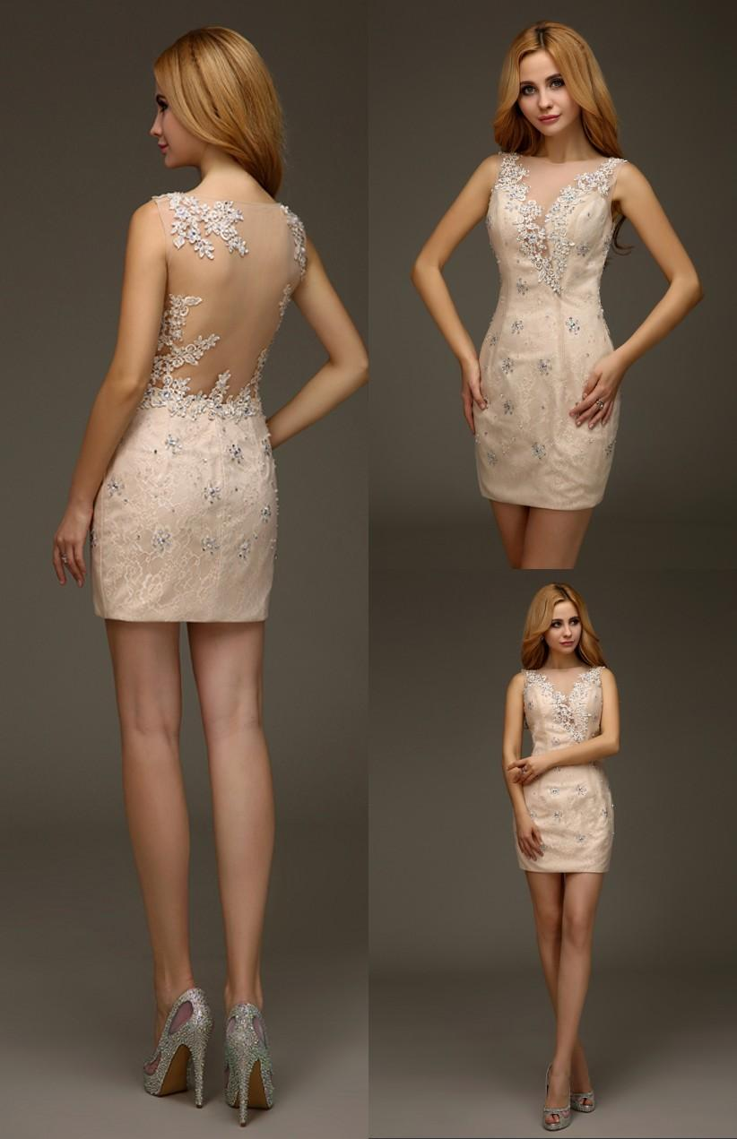Sexy Champagne Short Mini Tight Fitted 2016 Homecoming Lace ...