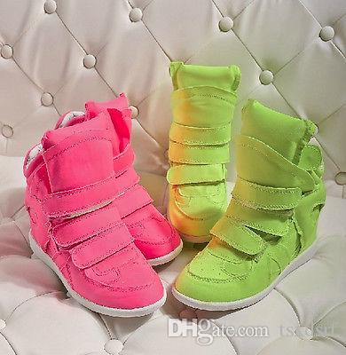 Ladies Neon Velcro High Top Wedge Trainers Canvas Sneakers Athletic