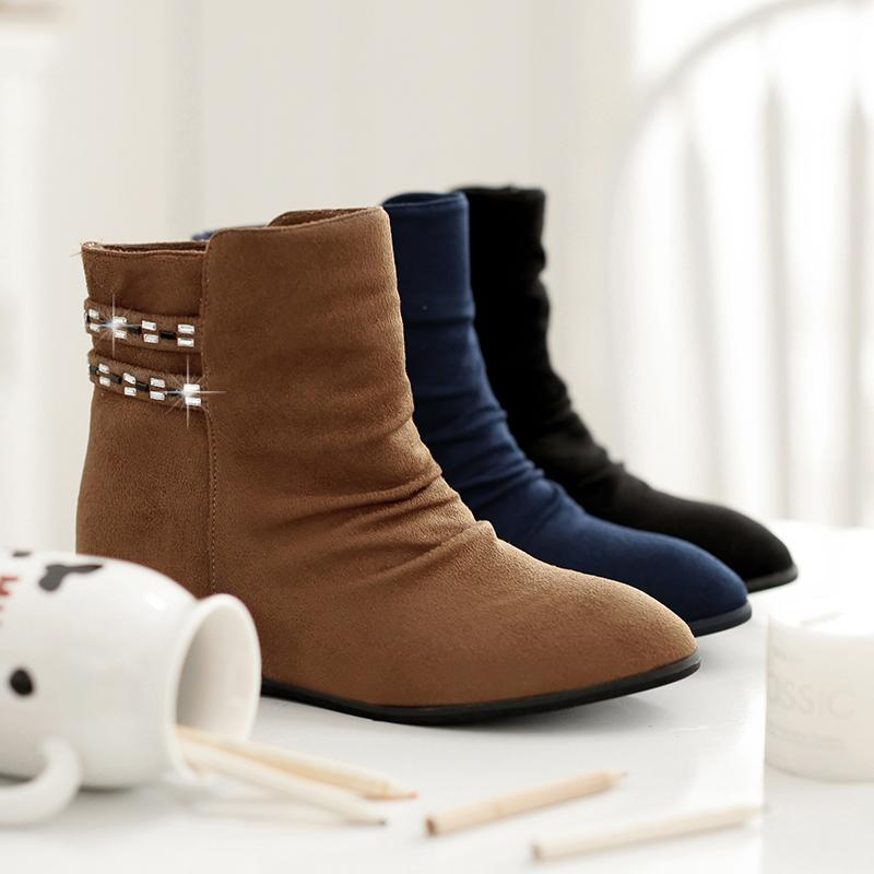 2015 Women Flat Ankle Boots Female Suede Casual Solid Martin Boots ...