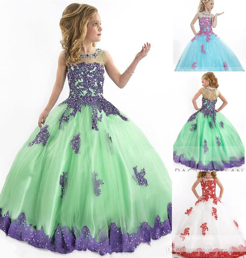 Ball Gown Flower Girls Dresses 2015 Princess Pageant Party Gowns ...