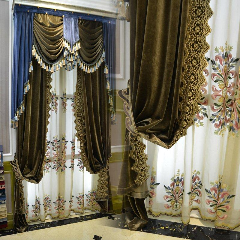 2017 2016 new high end european style luxury curtain 1 4 m fixed heigh chenille velvet vaterial. Black Bedroom Furniture Sets. Home Design Ideas