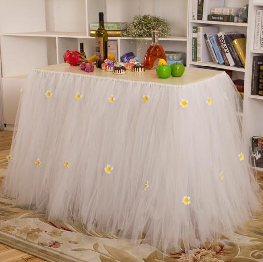 2015 New Tulle Table Skirt Tutu Table Decoration for Weddings ...