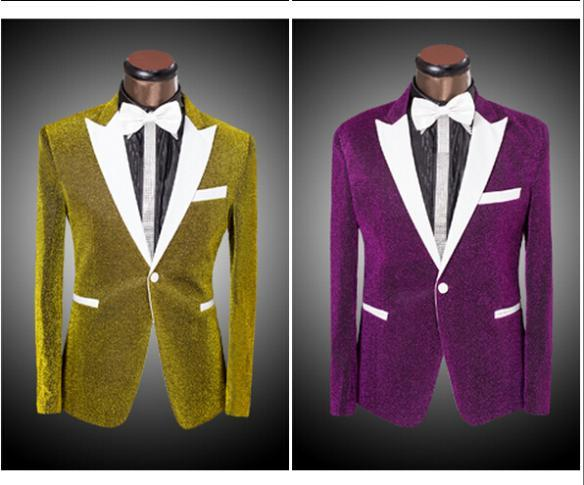 Black Yellow Blue Purple Sliver Color Bright Silk Suit White ...