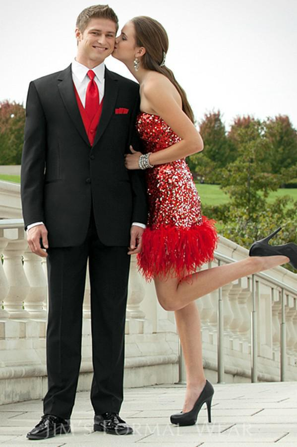 Black Grooms Tuxedos Red Jacket Men Wedding Suits Three Pieces ...