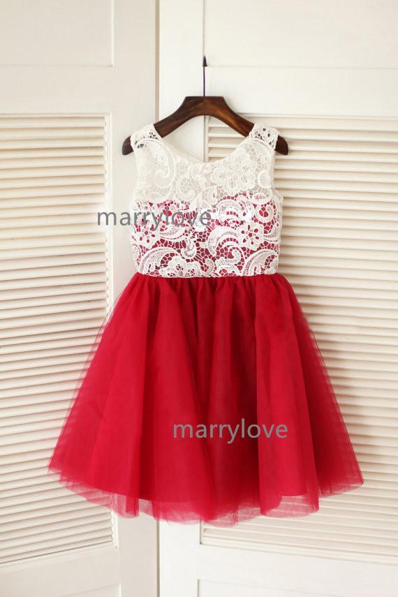 2019 year style- Red flower toddler girl dresses