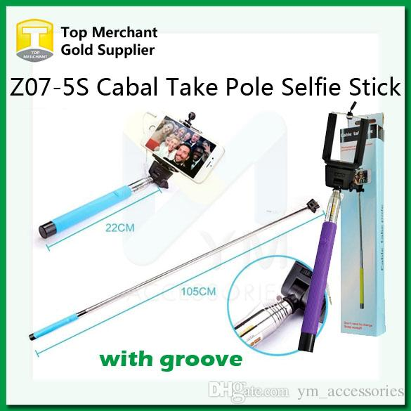 best z07 5s cable take pole wired selfie stick extendable handheld with groove monopod built in. Black Bedroom Furniture Sets. Home Design Ideas
