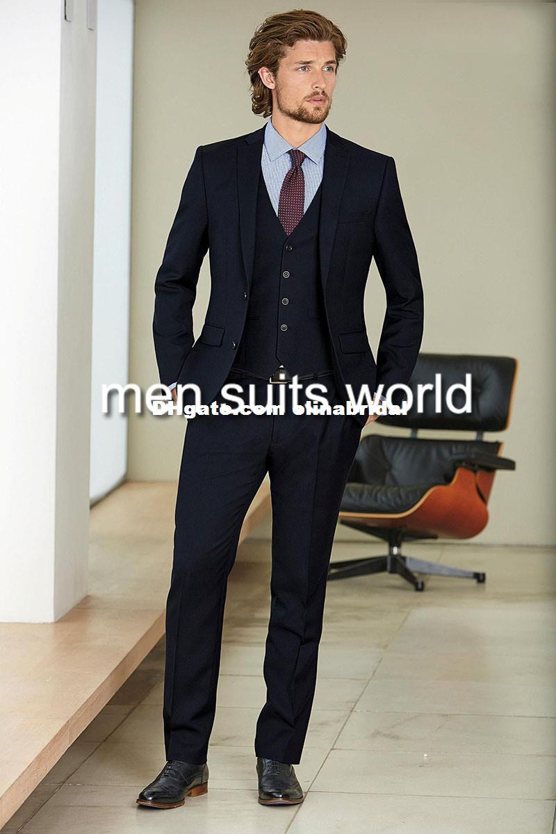 2015 Navy Blue Suit Blazer Men Wedding Suit Formal Groom Tuxedos