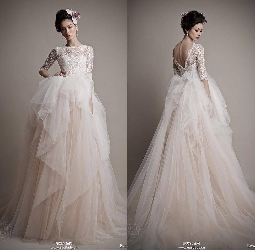 Romantic Light Pink Ersa Ateler Wedding Dresses Half Sleeves Crew ...