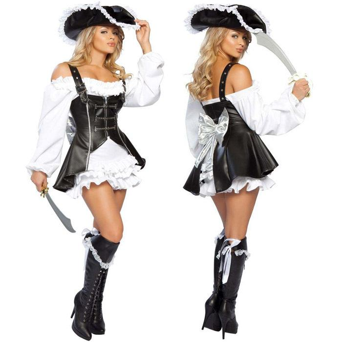 punk pirate costume women adult party halloween costumes for women black faux leather sexy pirates cosplay costume with hat pirate punk pirate costume - Pirate Halloween Costume For Women