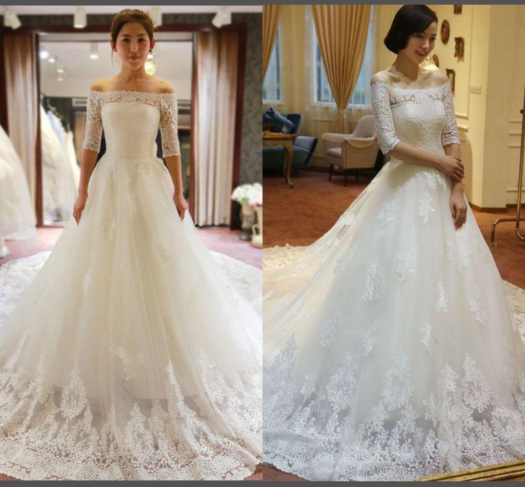 2015 White Vintage Empire Waist Lace A Line Wedding