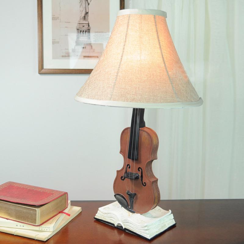 Creative Violin Bedside Desk Lamps Cute Vintage Kids Room Table – Desk Lamps for Kids