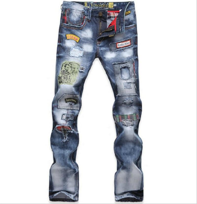 Discount Wholesale Men'S Trousers Tide Washed Ripped Jeans With ...