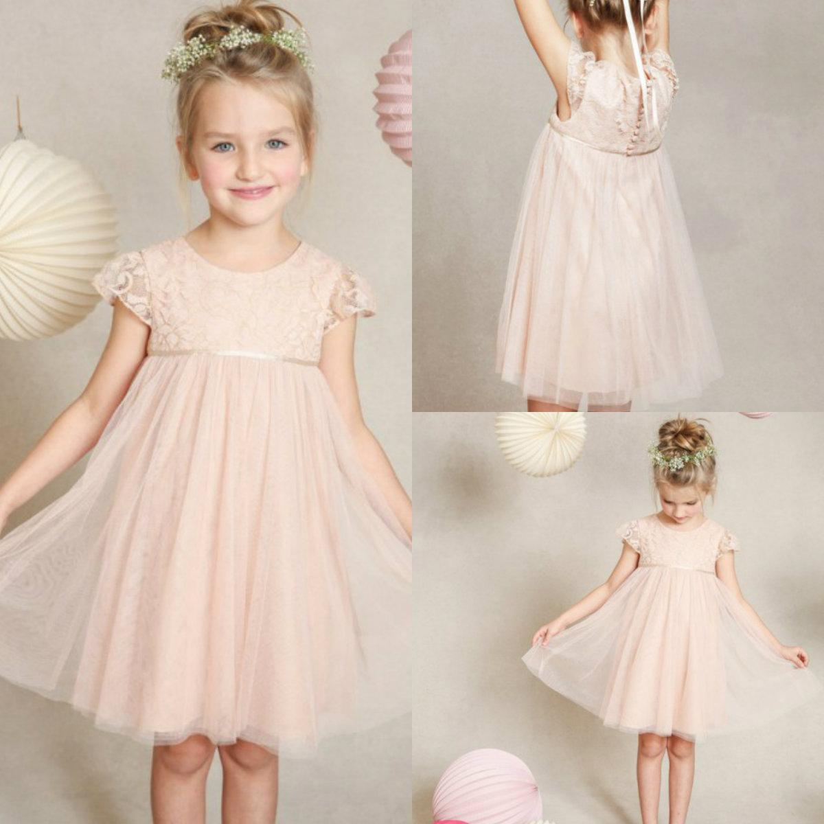 Cheap 2015 Pretty Peach Pink Crew Tulle Flower Girl Dresses Lace Knee Length
