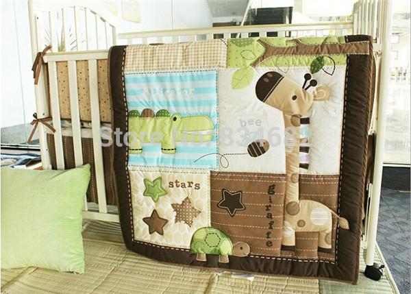 100 cotton baby quilt nursery comforter cot crib bedding set bumper for girl and boy baby nursery cool bee animal