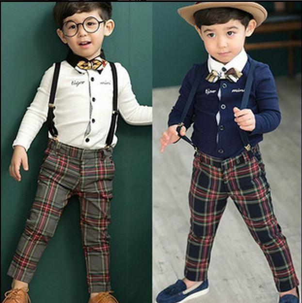 Baby Clothes 2016 Kids Boys Plaid Suspender Thouser Pants Babies ...