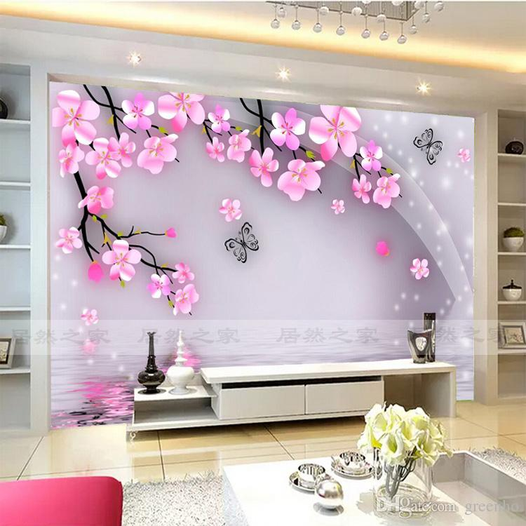 Cherry Blossom And Butterfly Wall Mural Wall Stickers Large View Photo  Wallpaper Art Mural Decal Room Background Wall Bedroom Kids Rooms Photo  Wallpaper ...