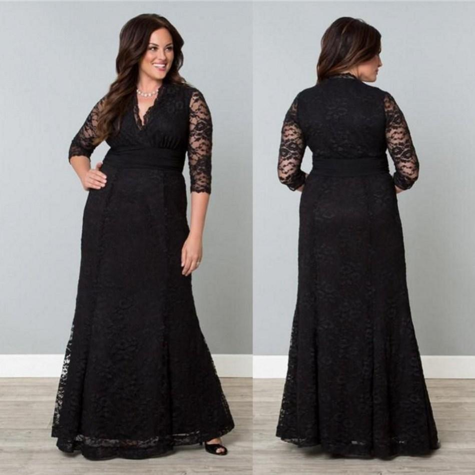 2015 Lace Plus Size Formal Dresses Black 1/2 Long Sleeves Sheer ...