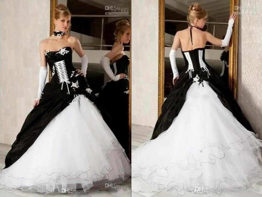 Cheap black and white ball gown wedding dresses gothic for Cheap black and white wedding dresses