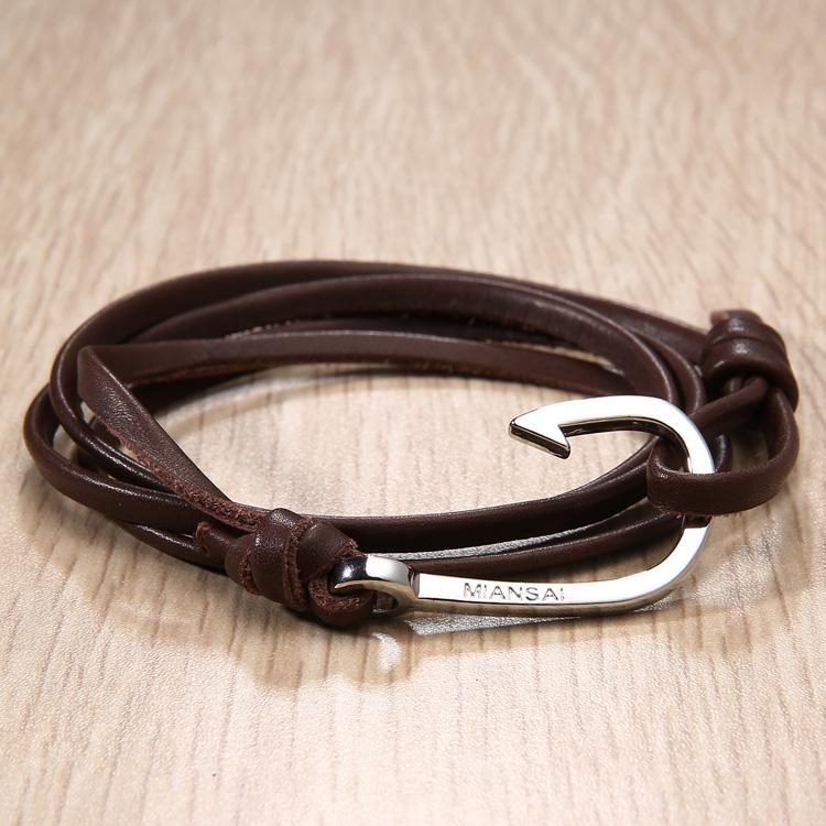 Miansai Silver Hook Leather Bracelet Miansai Silver Anchor Hook