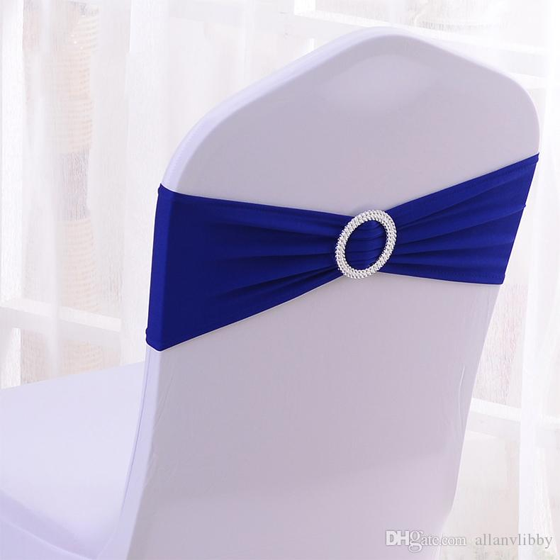 Royal Blue Elastic Stretch Chair Bands With Buckle Slider Sashes Bow For Wedding Home Party