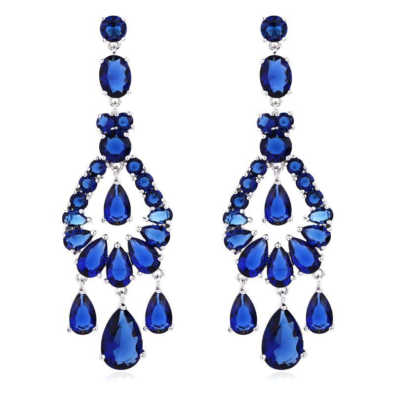 Austrian Crystal Chandelier Big Long Fashion Jewelry Wedding Clear ...