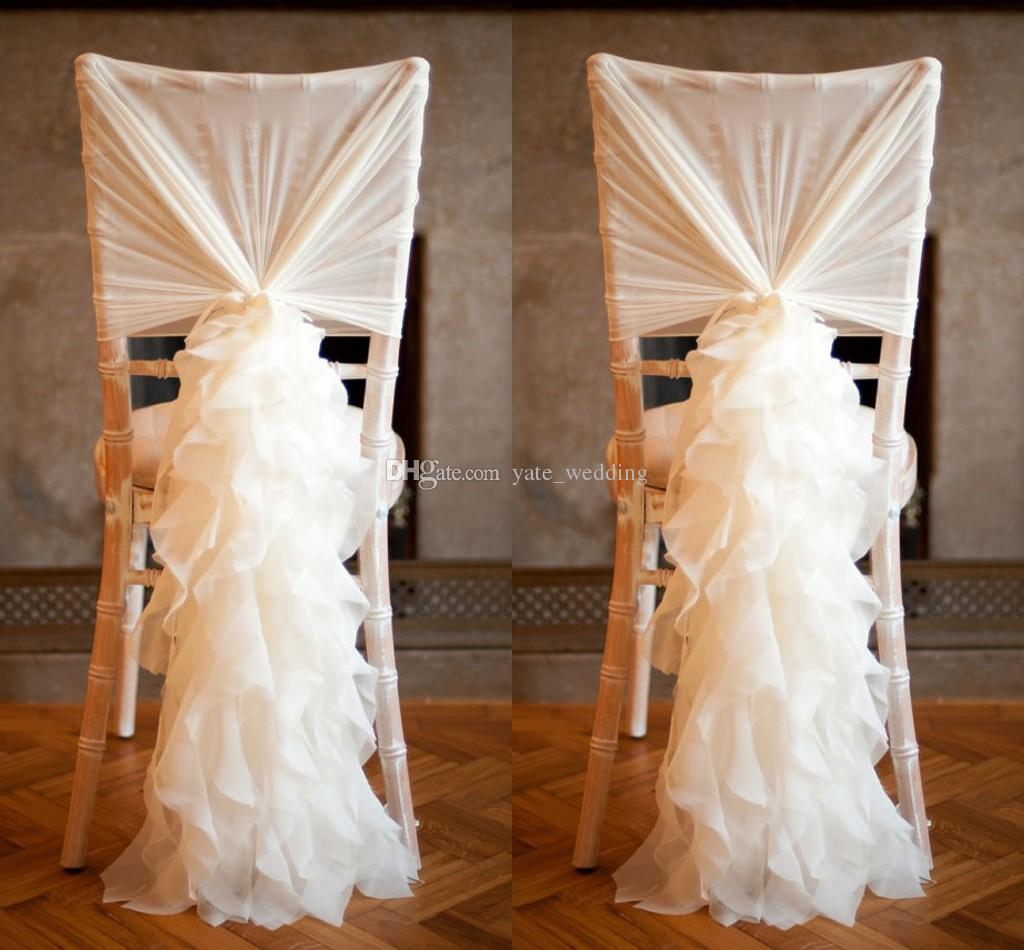 Ruffled Ivory Chair Covers For Weddings 30D Chiffon Delicate Wedding