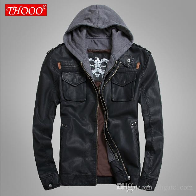 Thooo Brand Mens Pu Leather Jackets Hoodie Jacket For Mens Good
