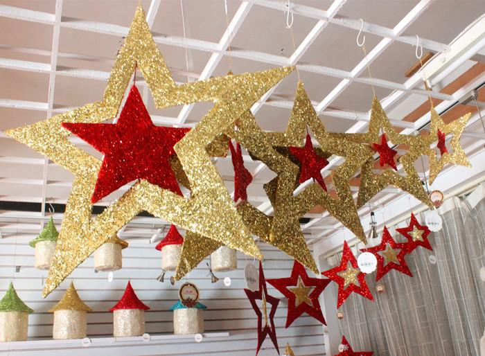 30cm glitter stars hanging high quality christmas for Quality outdoor christmas decorations