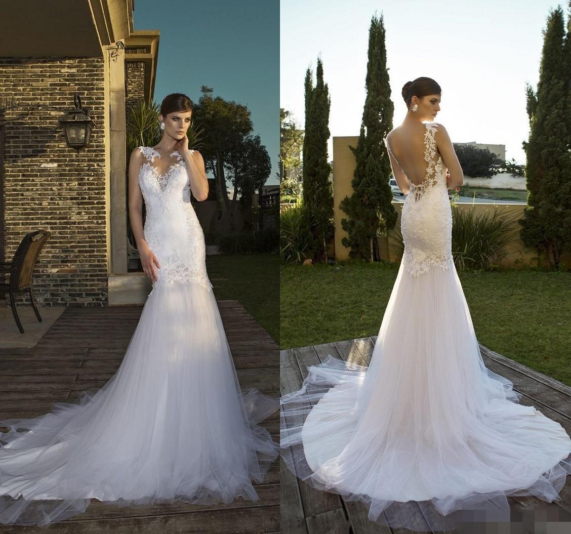 Elegant y Sheer Mermaid Wedding Dresses Vintage 2015