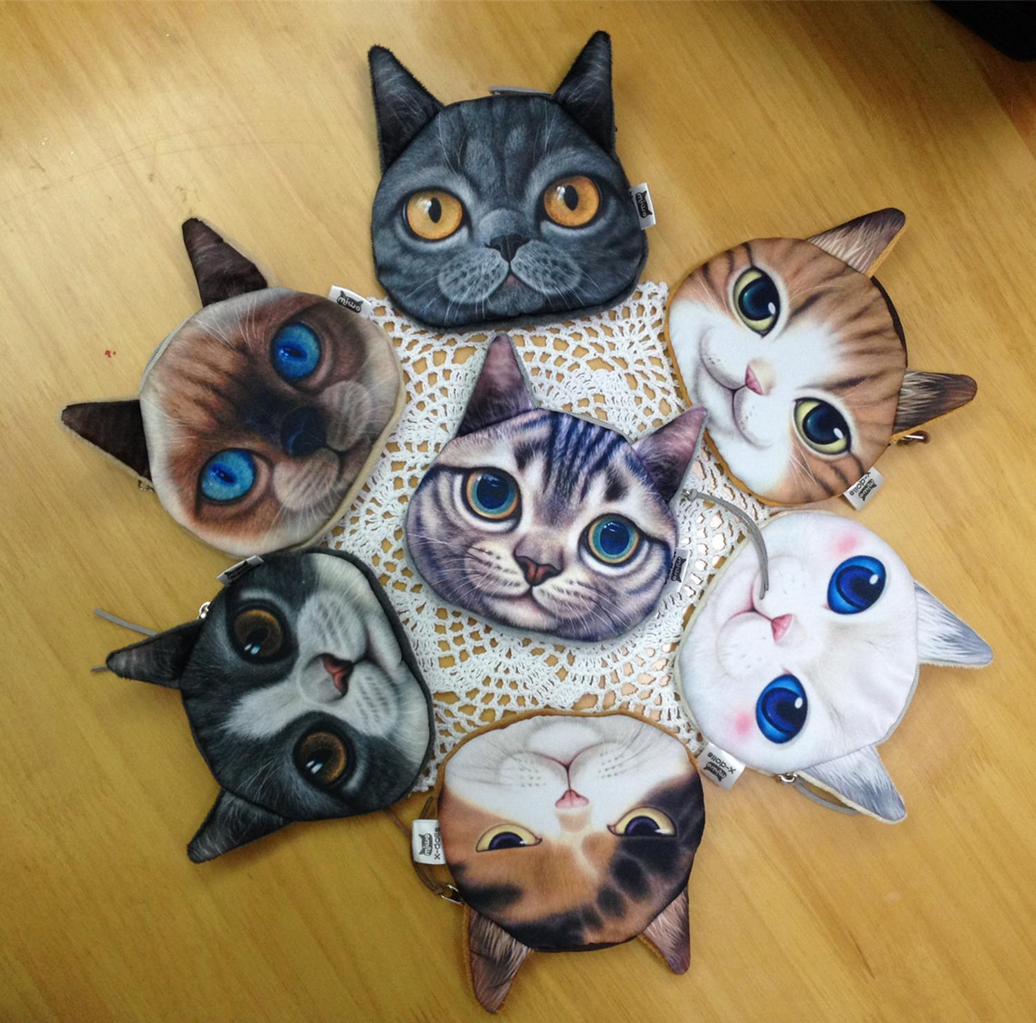 3d print cat face coin pouch animal small clutch purse