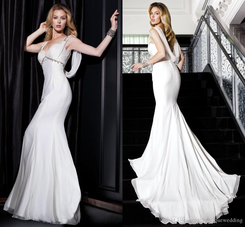 new 2015 designer greek style castle mermaid wedding dresses sweetheart backless chiffon wedding gowns with empire