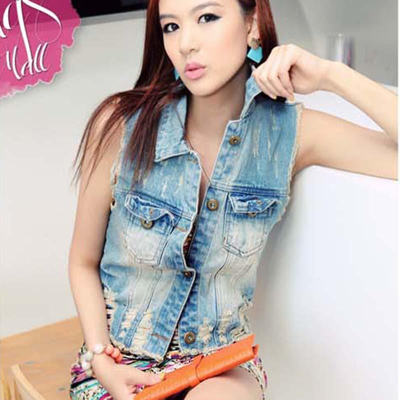 New Sleeveless Denim Vest Female Korean Ladies Fashion Fringe Pony ...