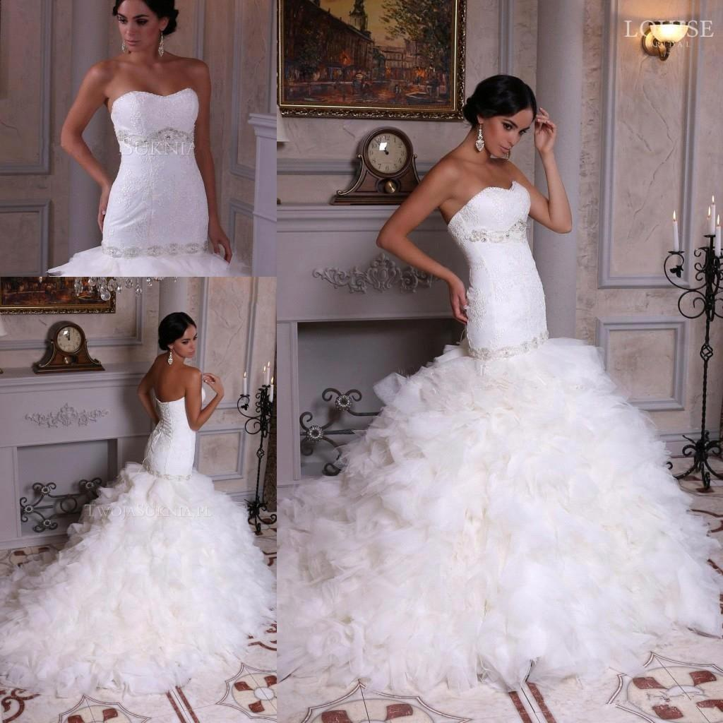 Glamorous 2016 Mermaid Wedding Dresses Ruffles Spring
