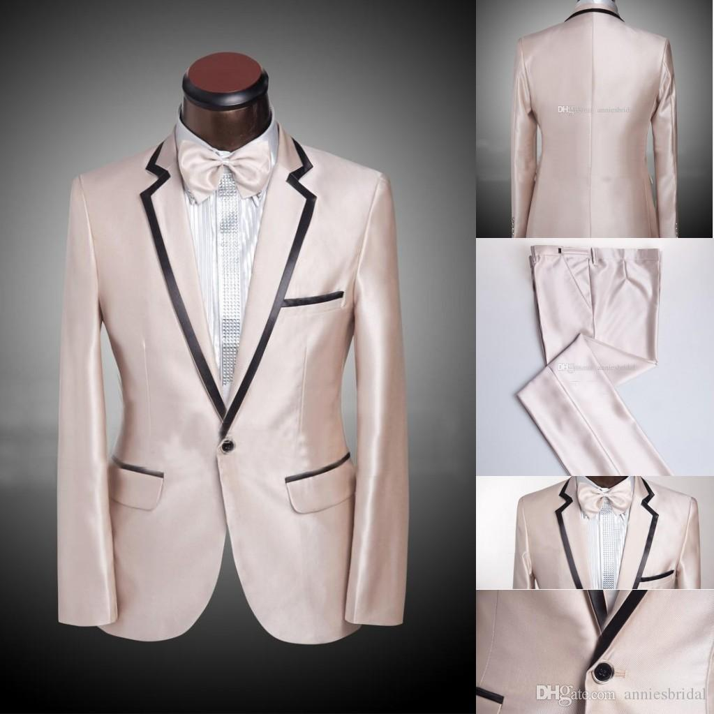 Cheap Champagne Gold Groom Tuxedos Classic Mens Suit Prom Suit ...