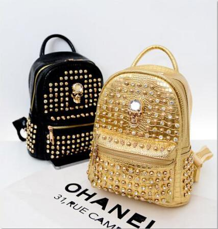 2015 double back the new Europe and the United States institute of big-name fashion rivet skeleton wind backpack bag men and women