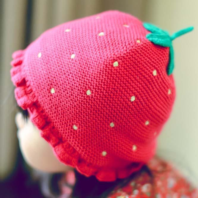 New Christmas Strawberry Wool Cap Children Caps Kid Boys Girls Knit Hat Patte...