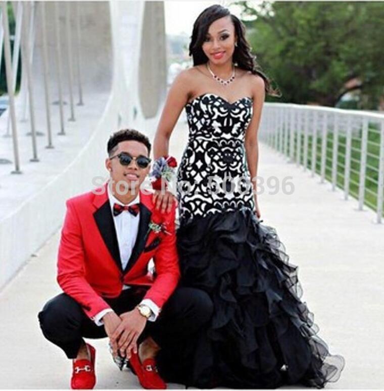 black mermaid 2016 prom dresses tiers skirt sexy formal