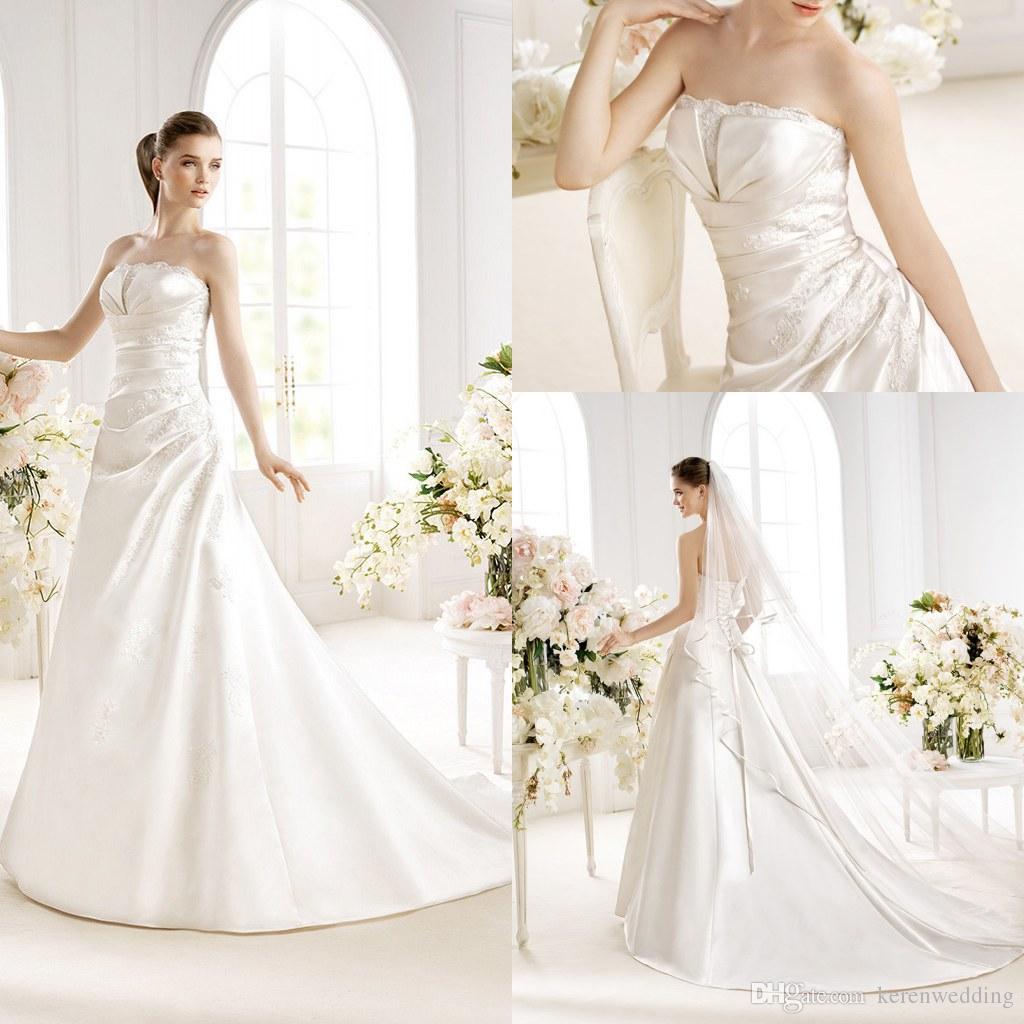 2014 winter christmas wedding dresses with a line applique strapless