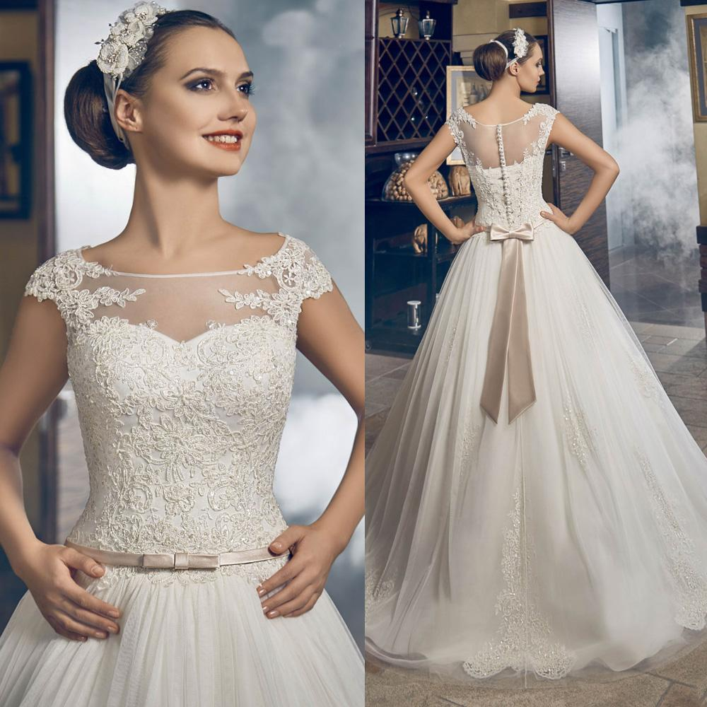 Modest Puffy Lace Princess Wedding Dresses Cap Sleeve Belt Tulle ...