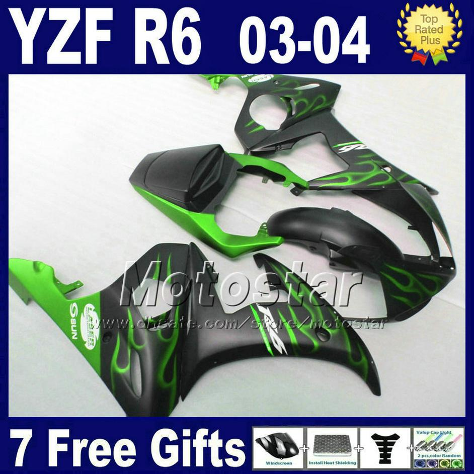 Free 7 gifts fairing kit for Kawasaki ninja zx6r 98 99 green flames black motorcycle fairings set ZX6R 1998 1999 IU32