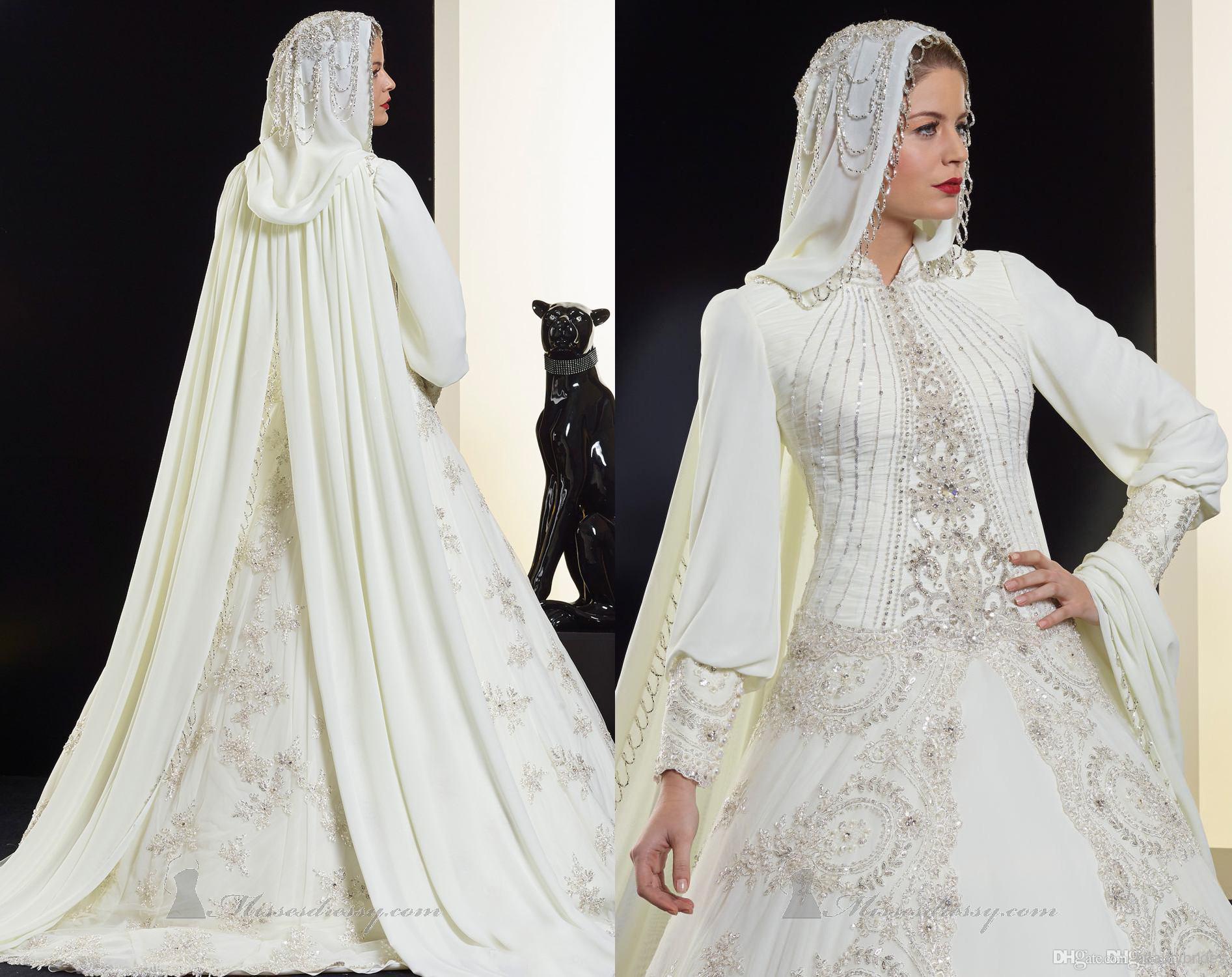 Muslim Wedding Dress Uae : Saudi arabia muslim wedding dresses high collar