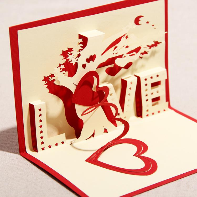 New 3D Handmade Card DIY Paper-cut 3D Greeting Cards Valentine's Day ...